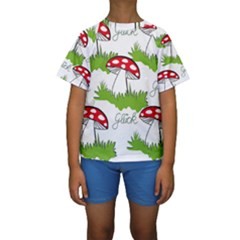 Mushroom Luck Fly Agaric Lucky Guy Kids  Short Sleeve Swimwear