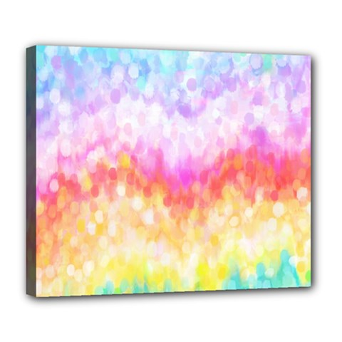 Rainbow Pontilism Background Deluxe Canvas 24  X 20   by Nexatart