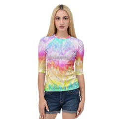 Rainbow Pontilism Background Quarter Sleeve Tee