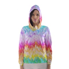 Rainbow Pontilism Background Hooded Wind Breaker (women)