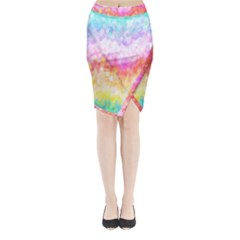 Rainbow Pontilism Background Midi Wrap Pencil Skirt