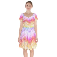 Rainbow Pontilism Background Short Sleeve Bardot Dress