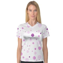 Decorative Dots Pattern Women s V Neck Sport Mesh Tee by ValentinaDesign