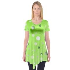 Decorative Dots Pattern Short Sleeve Tunic  by ValentinaDesign