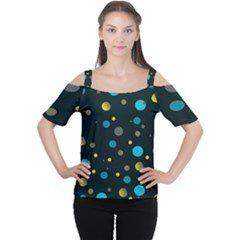 Decorative Dots Pattern Women s Cutout Shoulder Tee by ValentinaDesign