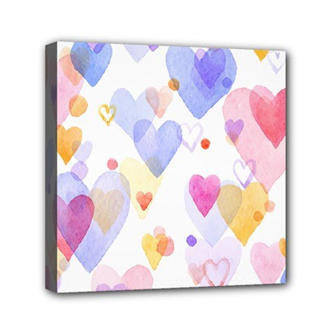 Watercolor Cute Hearts Background Mini Canvas 6  X 6  by TastefulDesigns