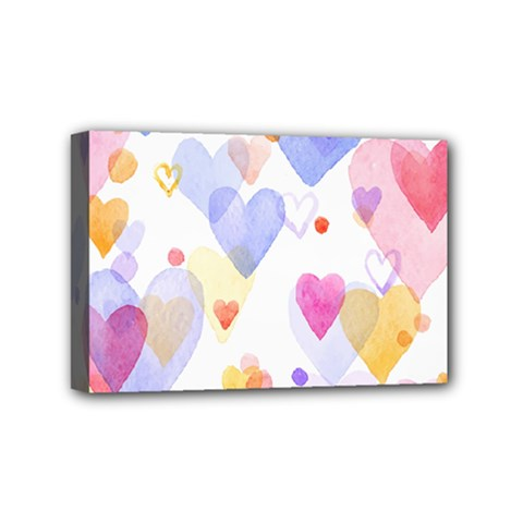 Watercolor Cute Hearts Background Mini Canvas 6  X 4  by TastefulDesigns