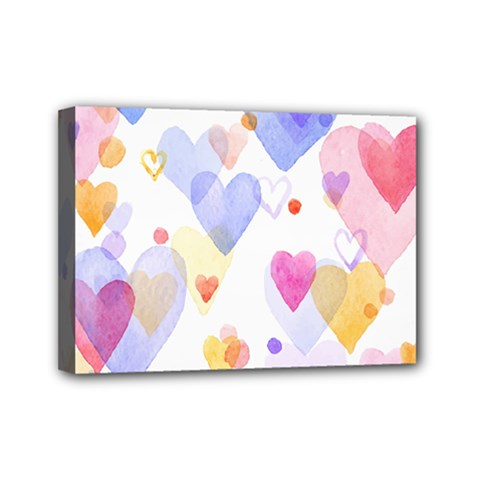 Watercolor Cute Hearts Background Mini Canvas 7  X 5  by TastefulDesigns