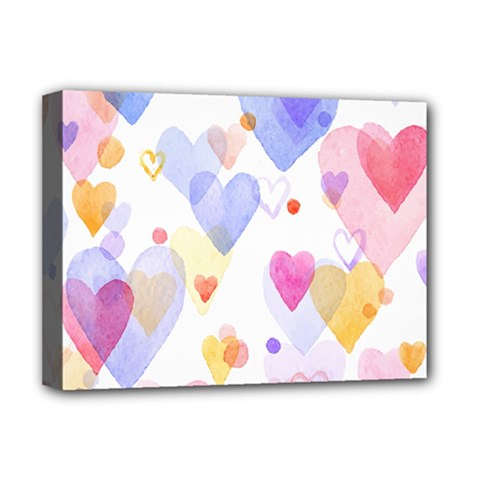 Watercolor Cute Hearts Background Deluxe Canvas 16  X 12   by TastefulDesigns