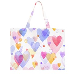 Watercolor Cute Hearts Background Zipper Large Tote Bag by TastefulDesigns