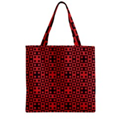Abstract Background Red Black Zipper Grocery Tote Bag