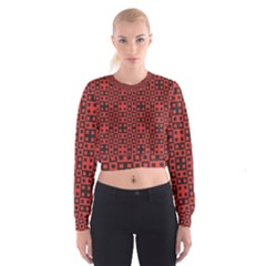 Abstract Background Red Black Cropped Sweatshirt