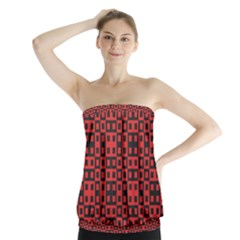 Abstract Background Red Black Strapless Top