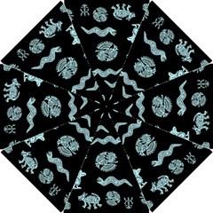 Aztecs Pattern Hook Handle Umbrellas (small) by ValentinaDesign