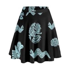 Aztecs Pattern High Waist Skirt by ValentinaDesign