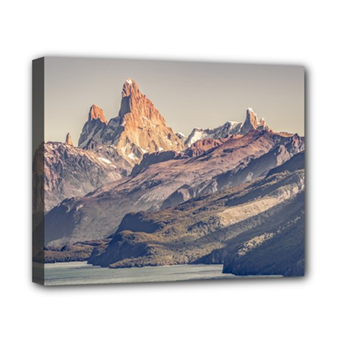 Fitz Roy And Poincenot Mountains Lake View   Patagonia Canvas 10  X 8  by dflcprints