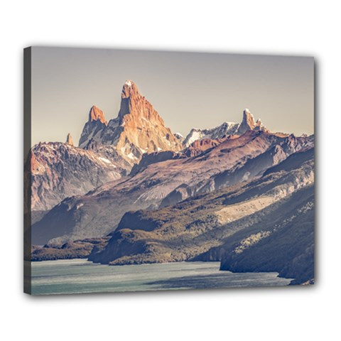 Fitz Roy And Poincenot Mountains Lake View   Patagonia Canvas 20  X 16  by dflcprints