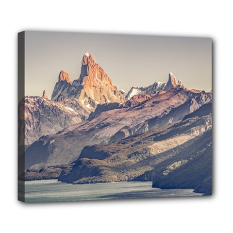 Fitz Roy And Poincenot Mountains Lake View   Patagonia Deluxe Canvas 24  X 20   by dflcprints
