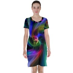 Abstract Art Color Design Lines Short Sleeve Nightdress