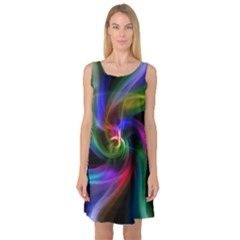 Abstract Art Color Design Lines Sleeveless Satin Nightdress