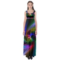 Abstract Art Color Design Lines Empire Waist Maxi Dress