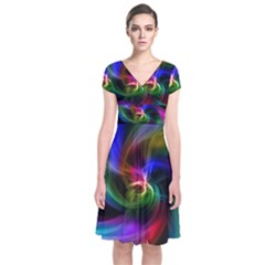 Abstract Art Color Design Lines Short Sleeve Front Wrap Dress