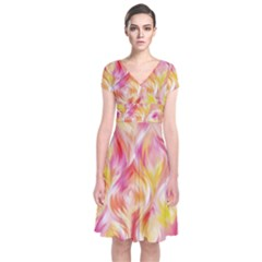 Pretty Painted Pattern Pastel Short Sleeve Front Wrap Dress