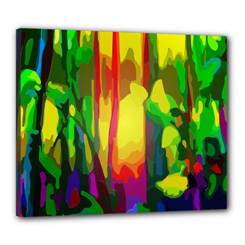 Abstract Vibrant Colour Botany Canvas 24  X 20