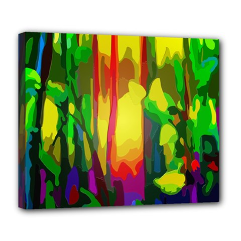 Abstract Vibrant Colour Botany Deluxe Canvas 24  X 20   by Nexatart