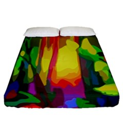 Abstract Vibrant Colour Botany Fitted Sheet (queen Size) by Nexatart