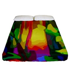 Abstract Vibrant Colour Botany Fitted Sheet (king Size) by Nexatart