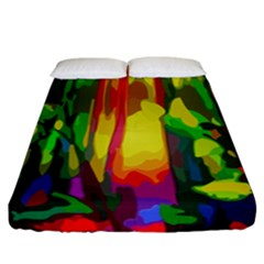 Abstract Vibrant Colour Botany Fitted Sheet (california King Size) by Nexatart