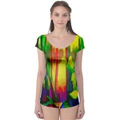Abstract Vibrant Colour Botany Boyleg Leotard