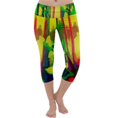 Abstract Vibrant Colour Botany Capri Yoga Leggings