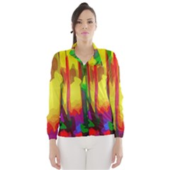 Abstract Vibrant Colour Botany Wind Breaker (women)