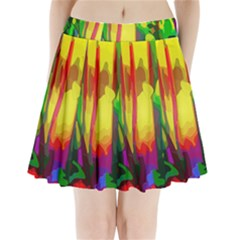 Abstract Vibrant Colour Botany Pleated Mini Skirt