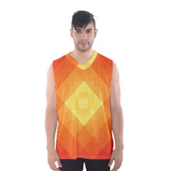 Pattern Retired Background Orange Men s Basketball Tank Top