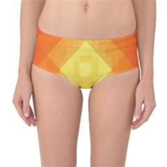 Pattern Retired Background Orange Mid Waist Bikini Bottoms