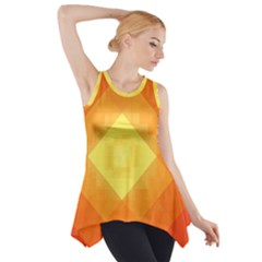 Pattern Retired Background Orange Side Drop Tank Tunic