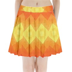 Pattern Retired Background Orange Pleated Mini Skirt