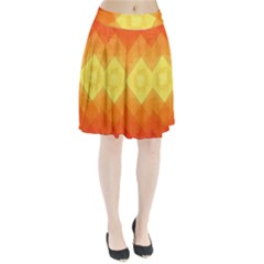 Pattern Retired Background Orange Pleated Skirt