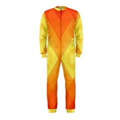 Pattern Retired Background Orange Onepiece Jumpsuit (kids)
