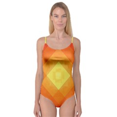 Pattern Retired Background Orange Camisole Leotard