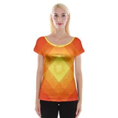 Pattern Retired Background Orange Women s Cap Sleeve Top