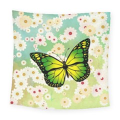 Green Butterfly Square Tapestry (large) by linceazul