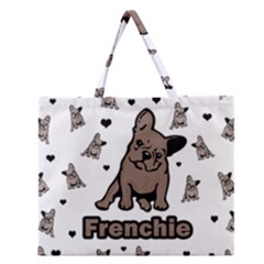 French Bulldog Zipper Large Tote Bag by Valentinaart