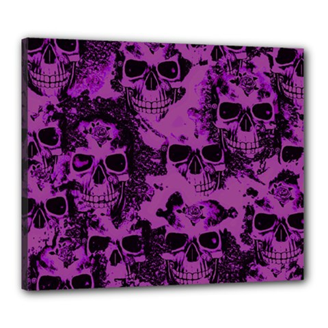 Cloudy Skulls Black Purple Canvas 24  X 20  by MoreColorsinLife