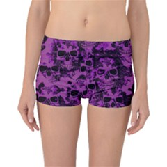 Cloudy Skulls Black Purple Boyleg Bikini Bottoms
