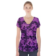 Cloudy Skulls Black Purple Short Sleeve Front Detail Top