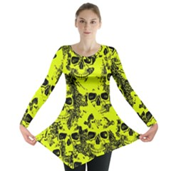 Cloudy Skulls Black Yellow Long Sleeve Tunic  by MoreColorsinLife